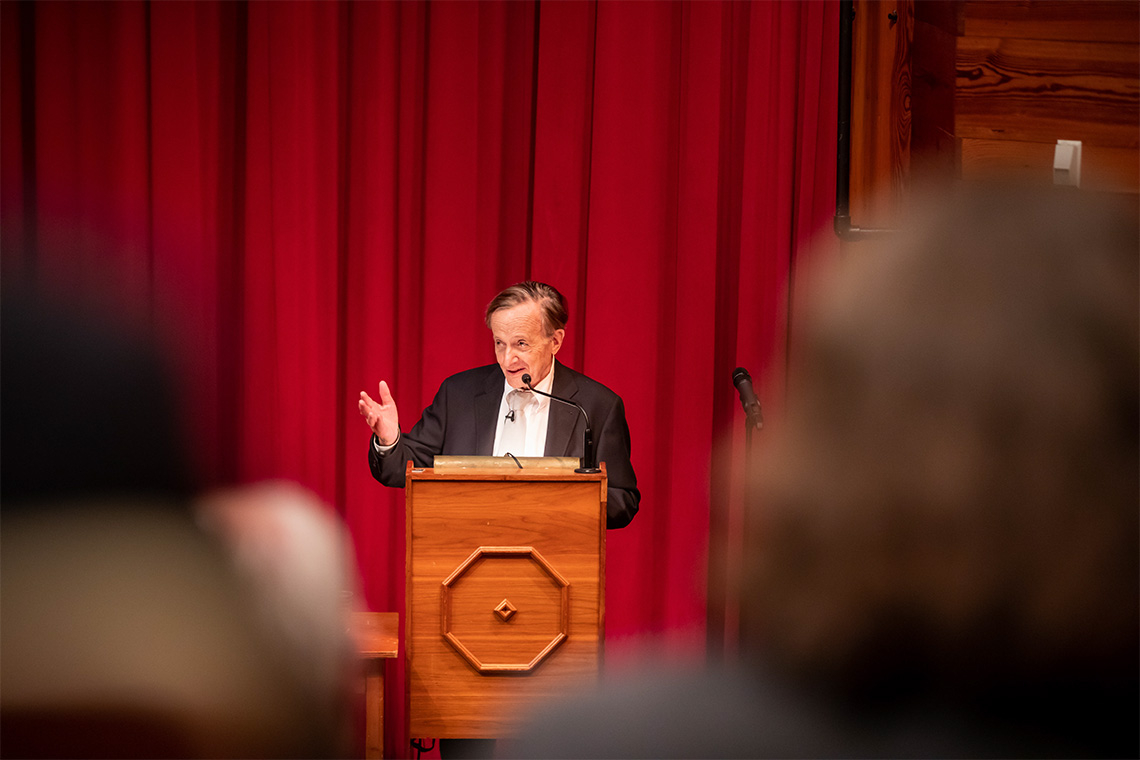 John Polanyi at the podium during the science for peace event