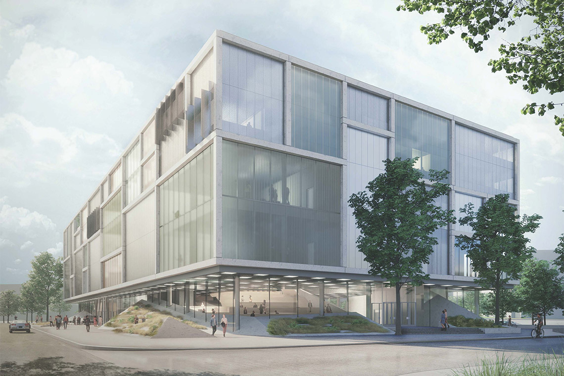 rendering of the exterior of the Instructional Centre II at UTSC