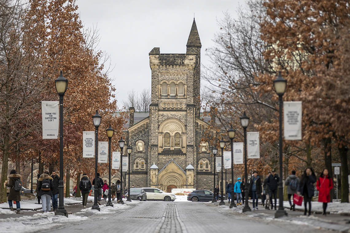 View north of King's College Road at U of T St. George campus during a winter day