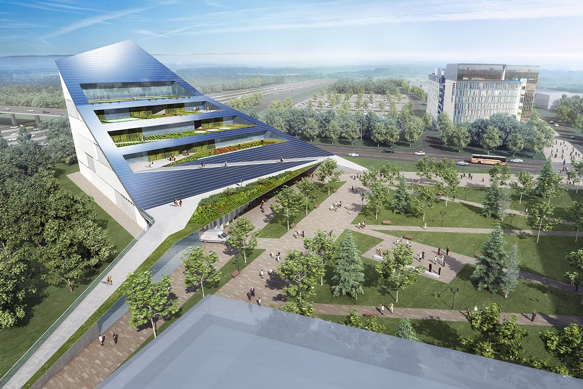 Rendering of the proposed vertical farm at U of T Scarborough