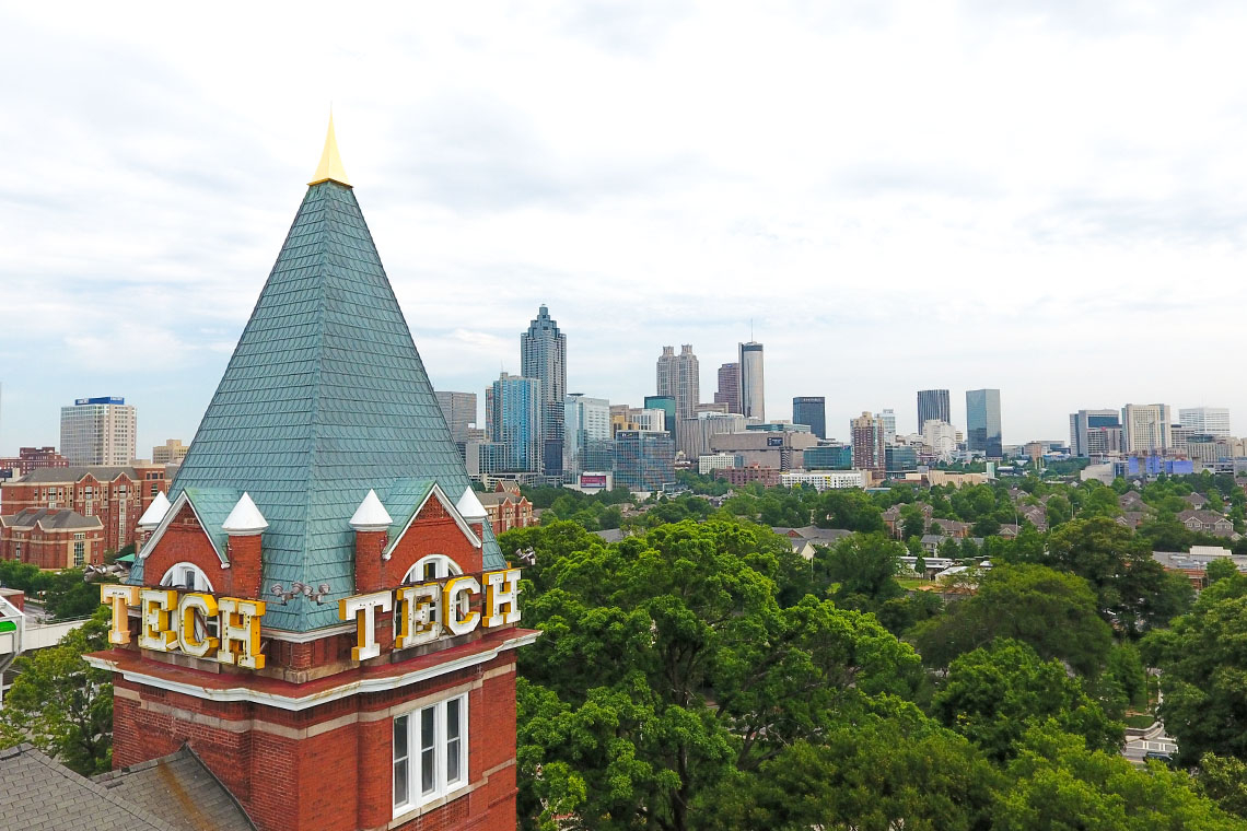 Tech tower in the foreground and the Atlanta skyline in the background