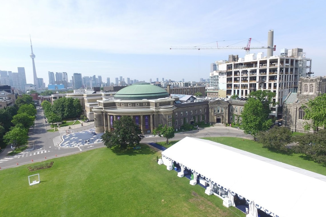 Drone photo of Convocation Hall and front campus