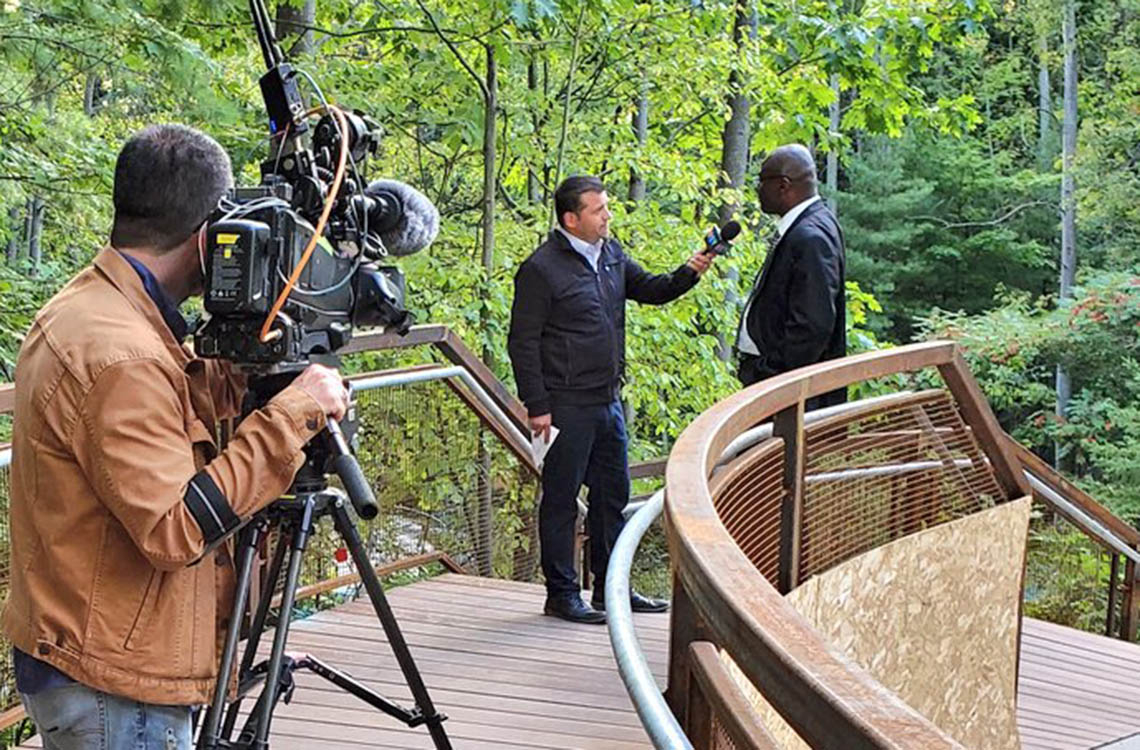 Wisdom Tetty speaks to CTV news at the new UTSC Valley land trail