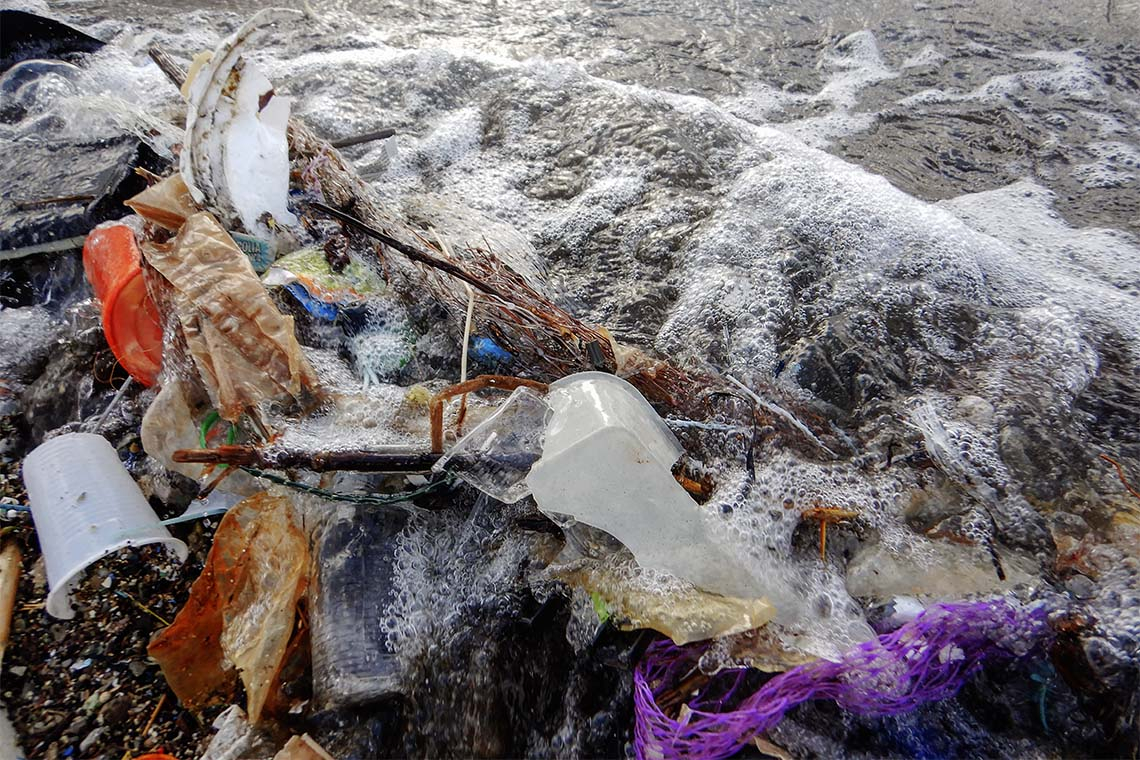 Plastic garbage washes up on shore