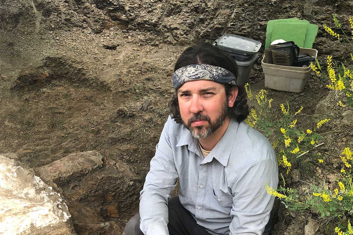 David Evans  at a dig site in Montana
