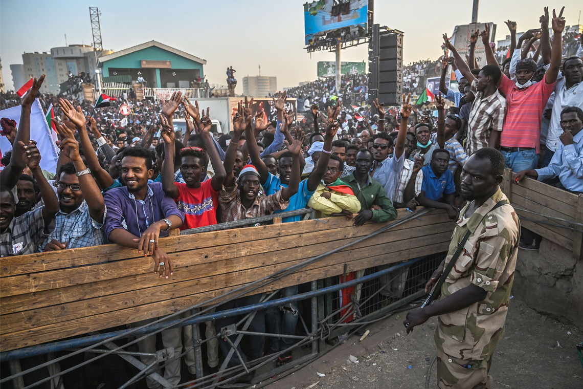 photo of protesters in Sudan