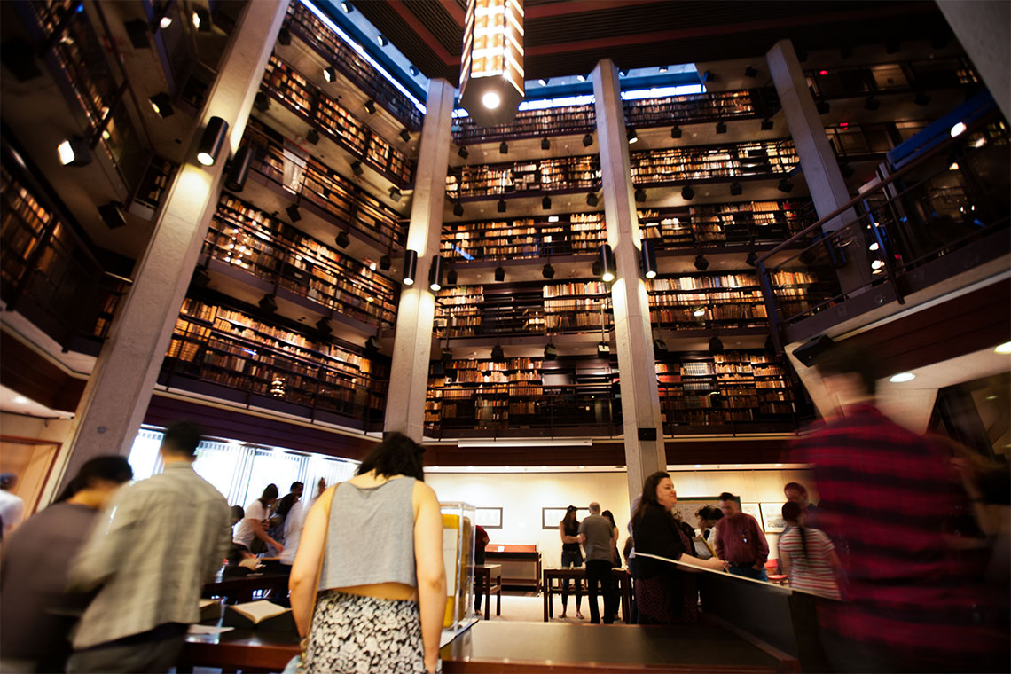 A view of the Interior of the Thomas Fisher Rare Book library looking up toward the ceiling