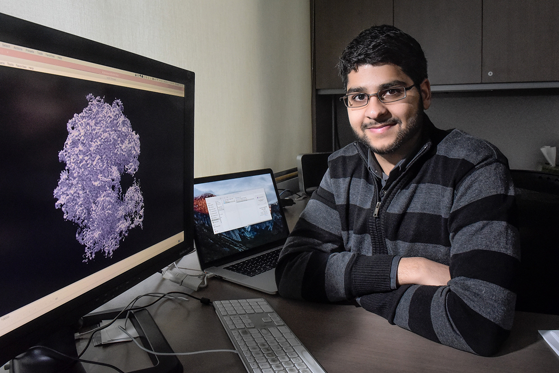 Ali Punjani sits in front of a computer screen displaying a 3D image of a protein molecule that was modelled using Structura Biotechnology's cryoSPARC platform