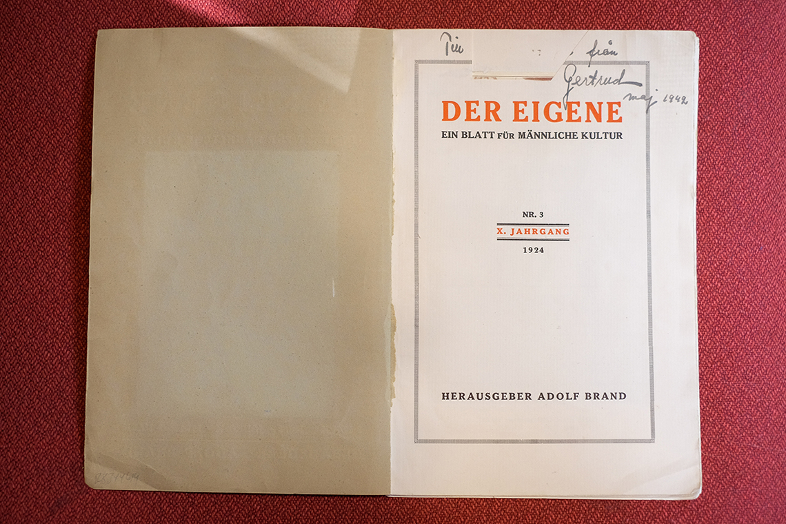 Photo of a copy of Der Eigene with a piece of the inscription missing