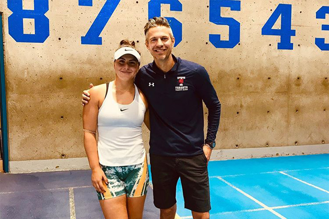 Bianca Andreescu and Varsity Blues track and field coach Terry Radchenko
