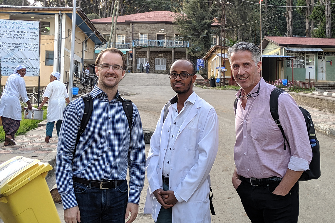 U of T faculty Karl Cuddy and Marco Caminiti with Ethiopian doctor