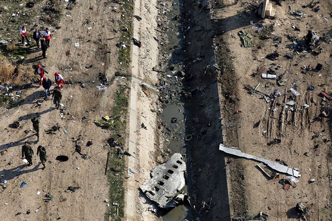 Photo of Flight 752 debris scattered on the ground