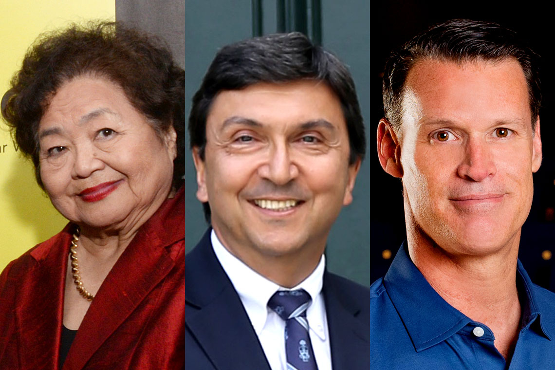 Photos of Setsuko Thurlow, David Naylor and Mark Tewksbury