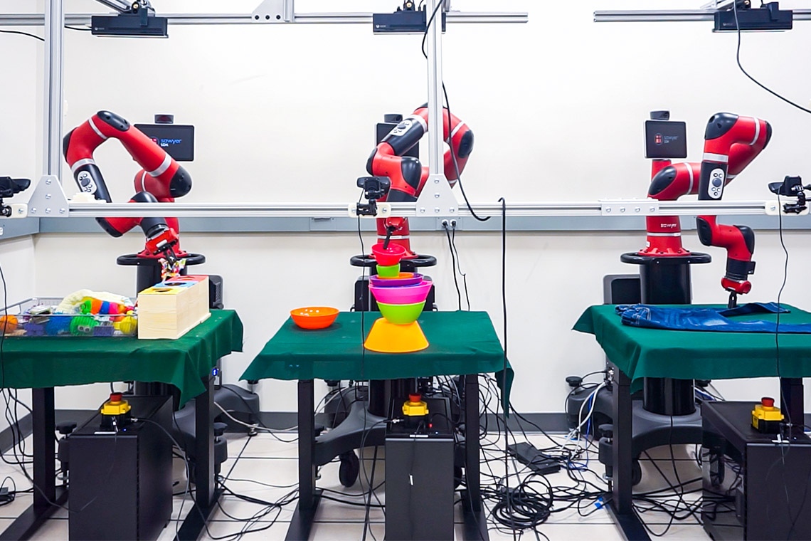 Photos of robots in a lab