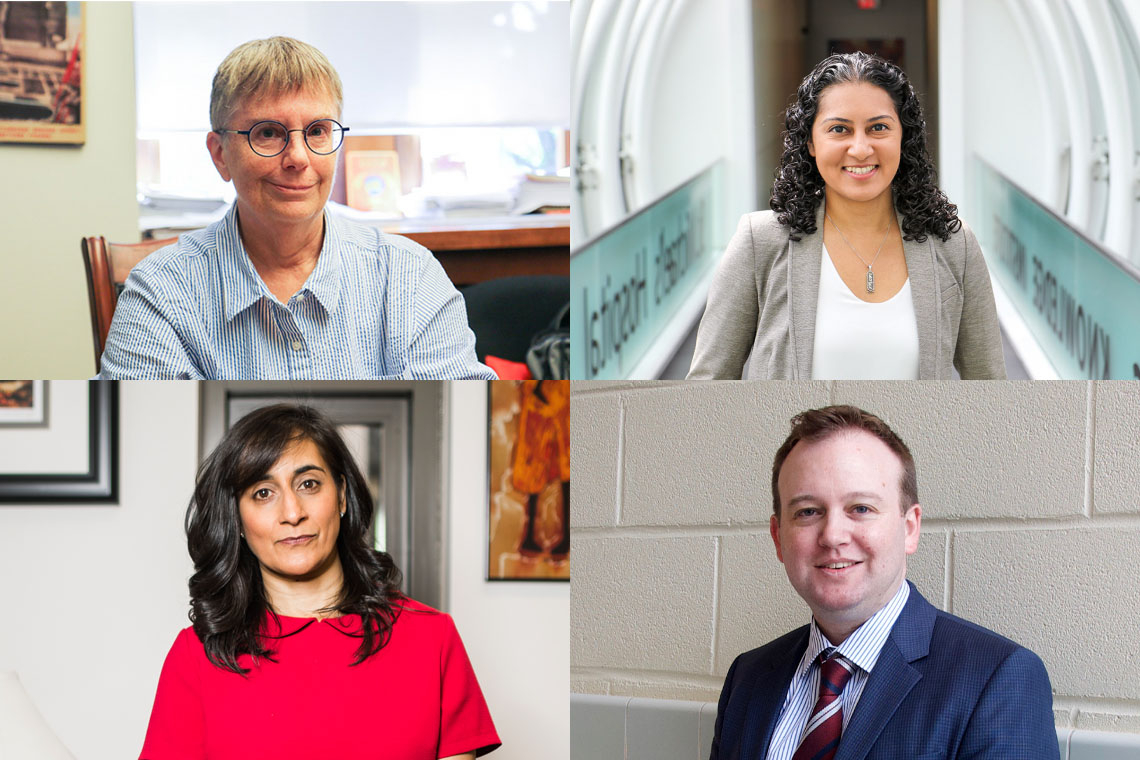 Clockwise from top left: U of T's Lynne Viola, Fahima Dossa, Dwight Seferos and Anita Anand