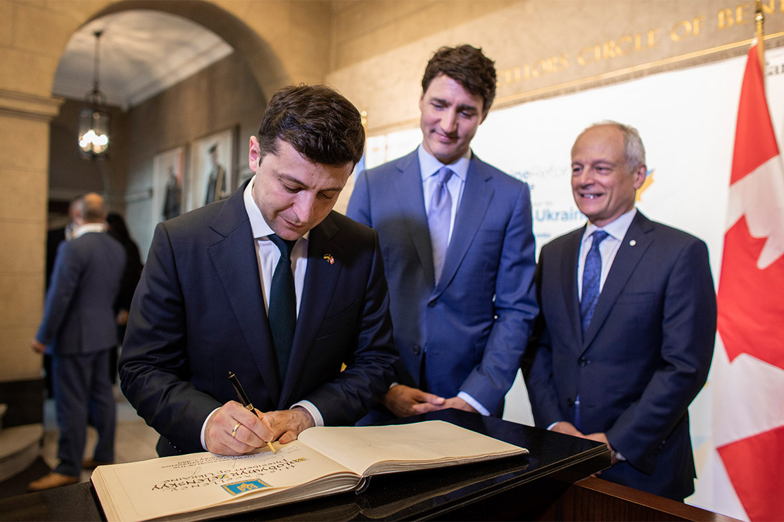 Photo of Zelenskyy, Trudeau and Gertler