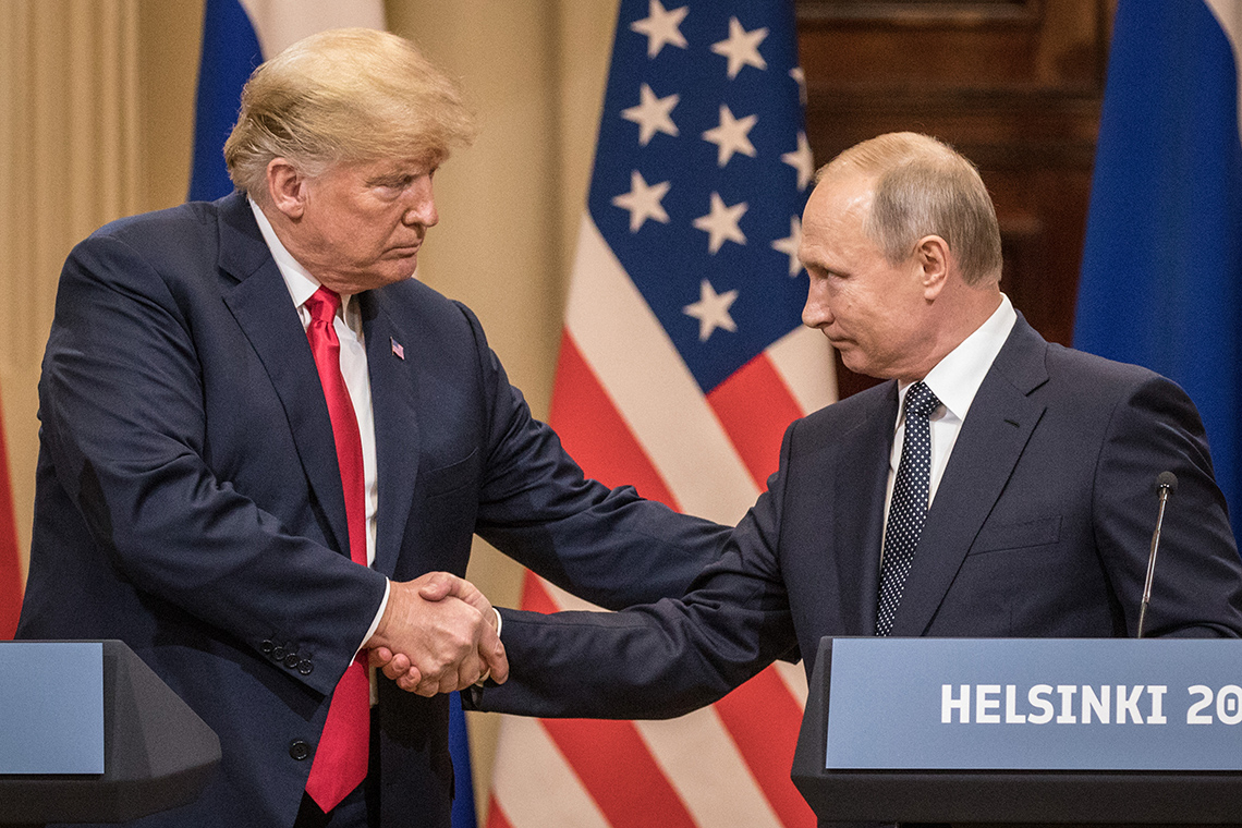 Trump and Putin handshake