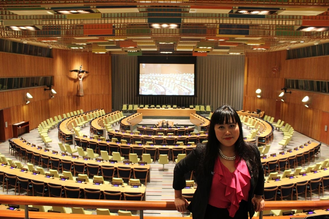 Tina Park at the General Assembly chamber of the United Nations