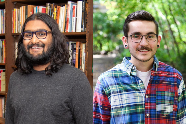 portrait-style photos of Seshu Iyengar (in library) and Joel Goodwin (in front of trees)
