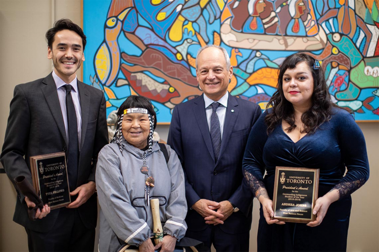 photo of Tyee Fellows, Inuk Knowledge Keeper Naulaq LeDrew, U of T President Meric Gertler and Andrea Johns