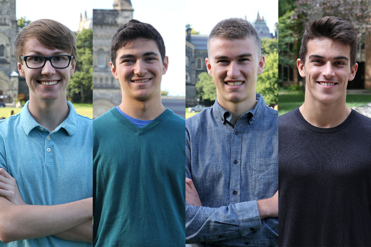 From left to right Caleb Lammers, Adam Glustein, Aidan Britnell and Tommy Moffat