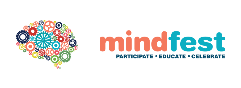 "Mindfest logo, with an illustration of gears and the words ""Participate Celebrate Educte"""