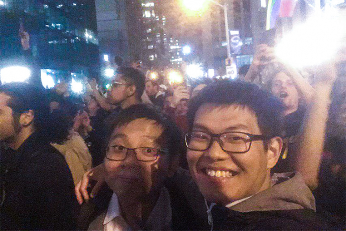 Marco Ho and Alan Li take a selfie at the Raptors celebration