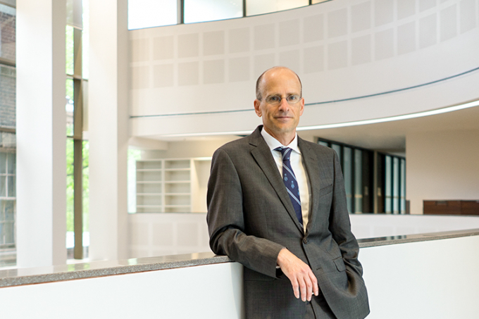 Ed Iacobucci stands inside the Jackman Law building