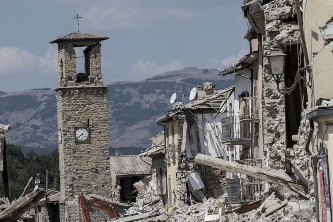 A view of the damaged bell tower in Amatrice, Italy
