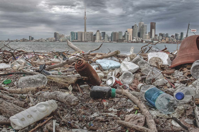 piles of garbage on Ward's Island in Toronto