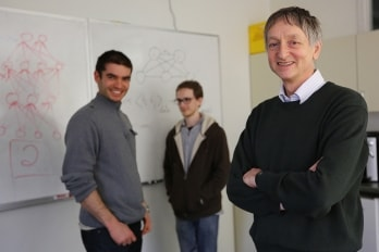 Photo of Geoffrey Hinton and students