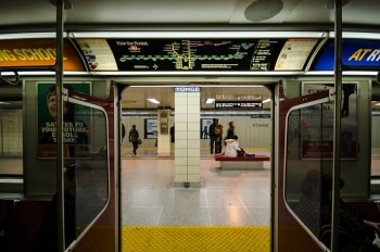 A picture of open subway doors