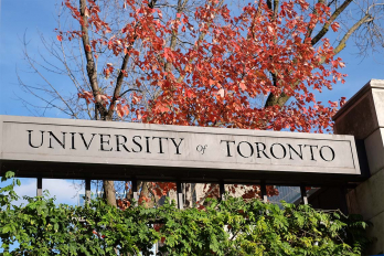 Photo of the University of Toronto sign on the St. George campus