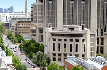 Aerial view of the Faculty of Information building looking south down st. george st