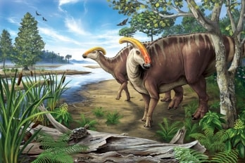 Artist depiction of duck-billed dinosaurs