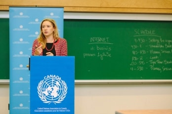 Mieka Buckley-Pearson speaking at the United Nations Association in Canada
