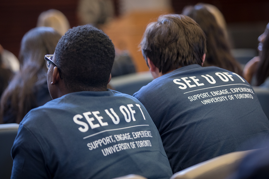 Photo of students wearing See U of T t-shirts