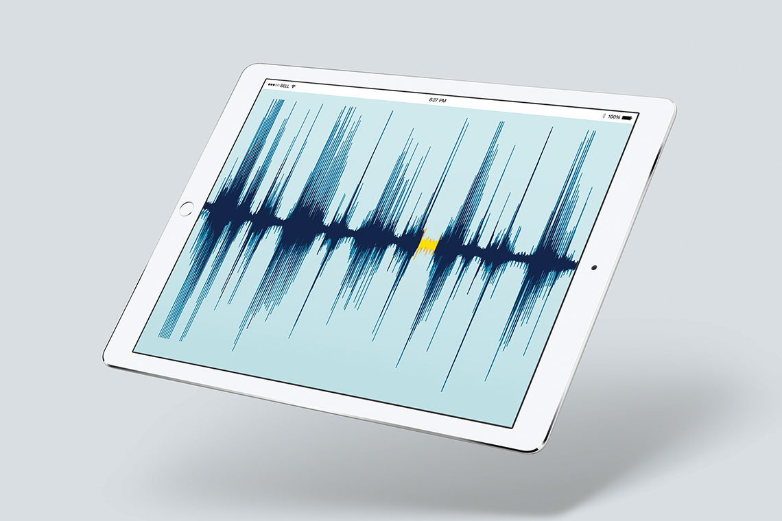 Winterlight Labs technology for detecting Alzheimer's early is illustrated by a seismograph-like pattern on a computer tablet