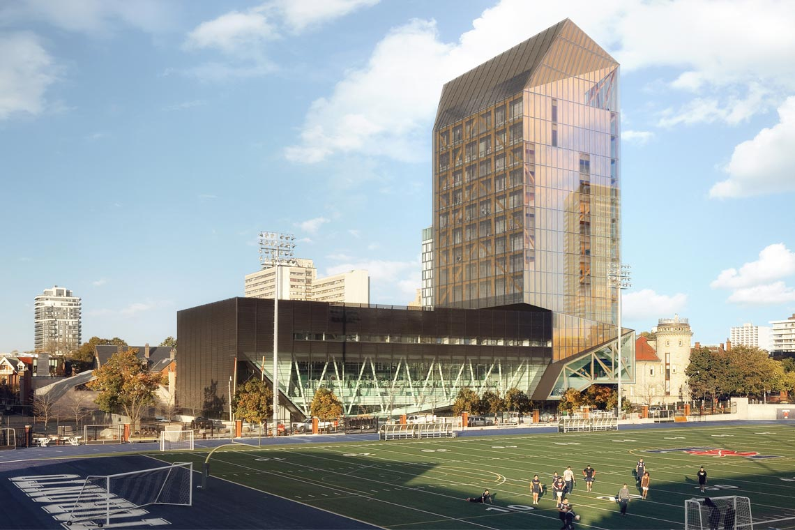 Rendering for U of T's planned wood tower on the downtown campus