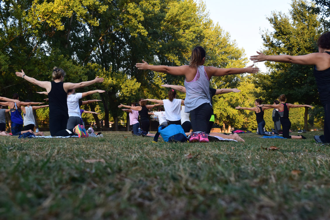 Photo of outdoor yoga class